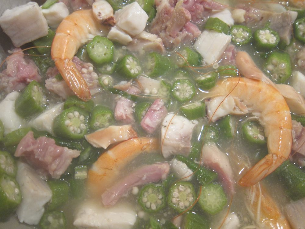 My slightCuraçaoan Gumbo with Okra, Salted Meats, Shrimp, Octopus and Oystersly less-goopy, slightly more protein-driven home version