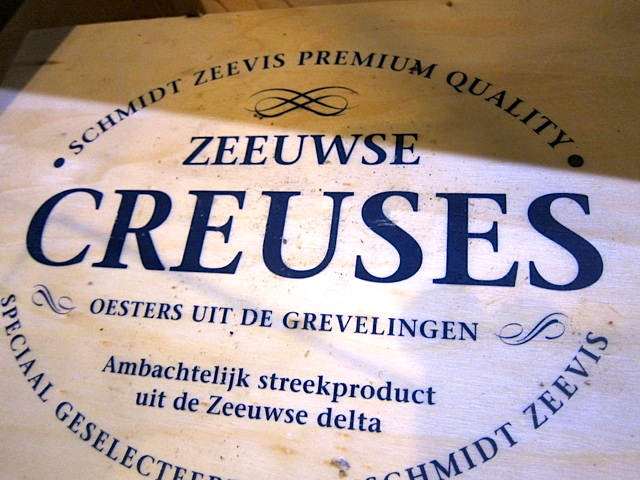 A box of crinkly-shelled oysters from Holland