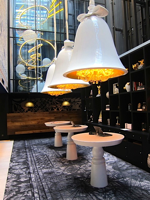 Lobby fixtures at the Andaz