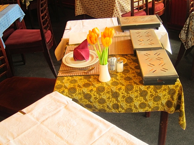 My table being set with warmers…with more warmers to come on a side table