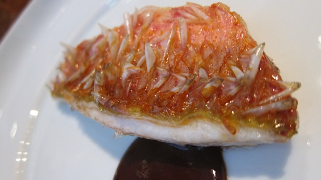 A rouget filet (ital) with its scales (end ital)…which have been coaxed into highy edible crunchiness!