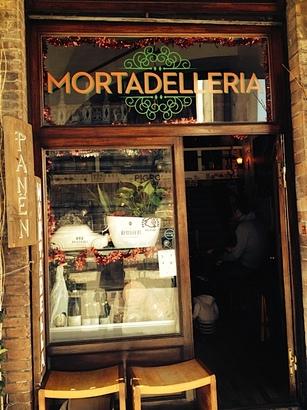 A shop in Bologna devoted to mortadella