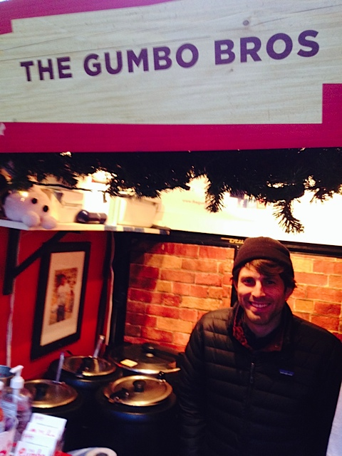Clay Boulware dishing it out at the Columbus Circle Holiday Market in New York City