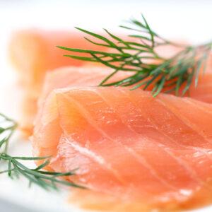 Close up of smoked salmon